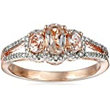 10K Pink Gold Oval Morganite and White Diamond Ring