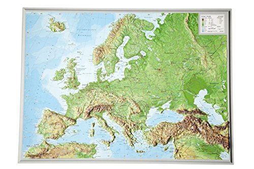 Europa-klein-116000000-Reliefkarte-Europa-klein-Din-A3-Tiefgezogenes-Kunststoffrelief