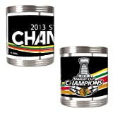 NHL Chicago Blackhawks 2013 Stanley Cup Stainless Steel Can Holder Set with Metallic Wrap (2-Piece), Silver at Amazon.com