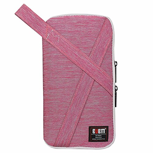 BUBM Electronics Accessories Calbe Carry Case,Office Travel Organizer Wallet Bag with Handle(Small-Pink)