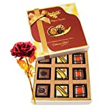 Valentine Chocholik's Luxury Chocolates - Passion Selection Of Pralines Chocolates With 24k Red Gold Rose