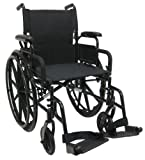 Karman Healthcare 802-DY-E Aluminum Lightweight Wheelchair with Flip Back Armrests with Elevating Legrests, Black, 18 Inches Seat Width