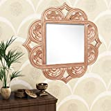 Home Sparkle Engineered Wood Wall Mirror (60 Cm X 1.5 Cm X 60 Cm, Golden, Sh1132)