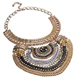 Fashion Multi Gold Tone Grey Black Chains White Crystal Statement Bib Necklace
