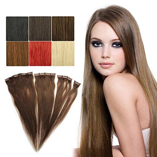 OUBO Neu 100% Remy Clip in Extensions Echthaar Single Haarverlängerung Glatt Haarverdichtung Haartresse 6 Farben 55 cm - 4# Schokobraun 1 Set 5g