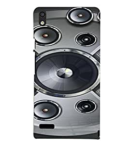 PrintVisa Music Speaker Bass 3D Hard Polycarbonate Designer Back Case Cover for Huawei Acend P6