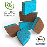 Pura Naturals Stink Free Cleaning Sponges Inhibit Bacteria. Stay Fresh NO ODOR Guarantee! Eco Kitchen / Household / Dish Sponges w/Walnut Scrubbers. 40x more durable. (Beige 6-pack | NO SOAP)