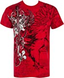 TG427T Eagle,Sword and Chains Metallic Silver Embossed Short Sleeve Crew Neck Cotton Mens Fashion T-Shirt - Red / Large