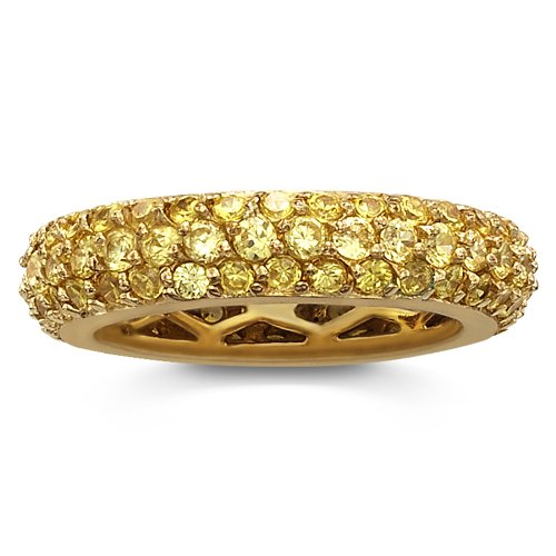 14K Gold Plated Sterling Silver Simulated Yellow Diamond Pave Eternity Band Ring