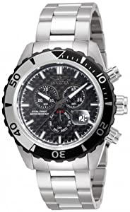 Invicta Men's Quartz Watch with Black Dial Chronograph Display and Silver Stainless Steel Bracelet 12860