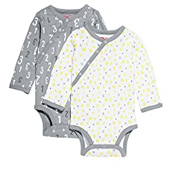 Skip Hop ABC-123 Side-Snap Long Sleeve Bodysuit Set, Grey