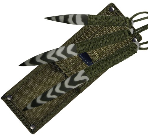 Fury Sea Camo 3-In-1 Throwers (9-Inch, 8-Inch, 6-Inch With Olive Drab And Tactical Nylon Sheath)