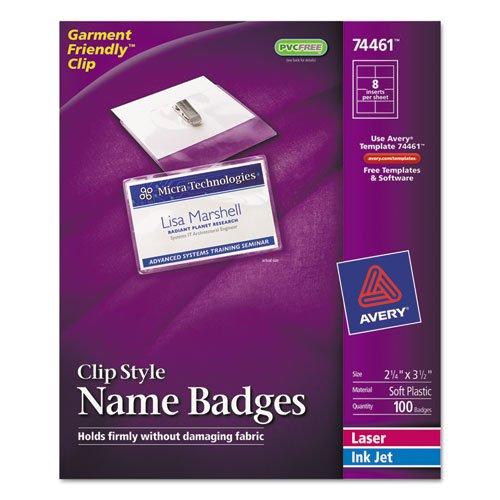 Avery Badge Holder Kit w/Laser/Inkjet Insert, Top Load, 2 1/