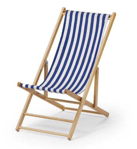 Telescope Casual Cabana Beach Folding Chair, Blue/White Stripe