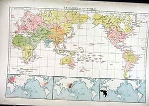 Religions de la vieille carte antique 1898 du monde - Cheque cadeau maison du monde ...