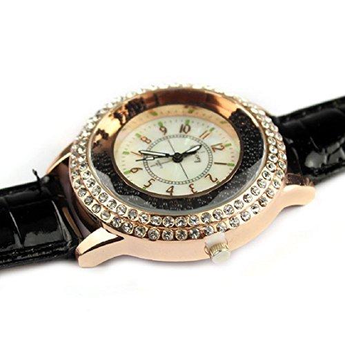 Zps(Tm) Fashion Luxury Leather Strap Date Quartz Analog Ladies Wrist Watch (Black)