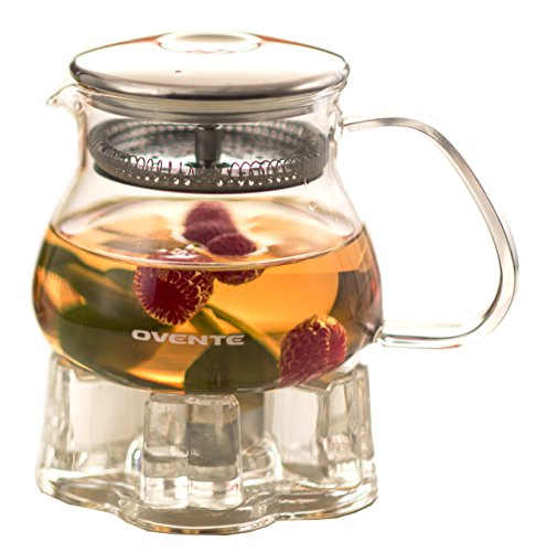 Find Discount Ovente FGB17T Heat Tempered Teapot with Warmer, 17 oz., Glass