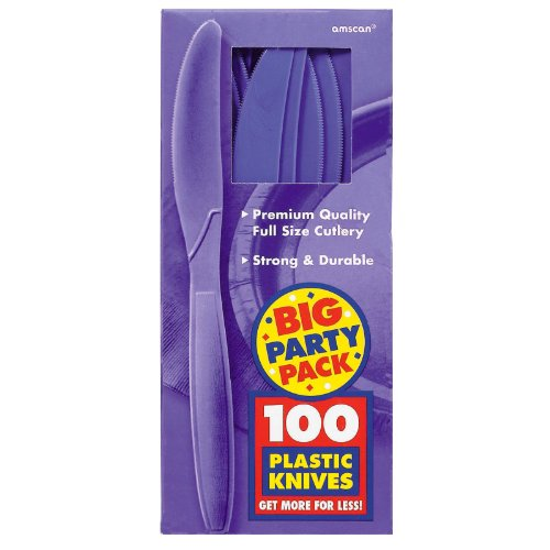 Amscan Big Party Pack 100 Count Mid Weight Plastic Knives, Purple - 1