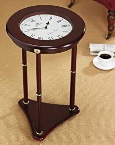 Greenhurst Glass Top Clock Coffee Table Mahogany Wood Kitchen Home