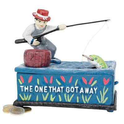 Design Toscano SP1291 The Fisherman: The One that Got Away Collectors Mechanical Coin Bank