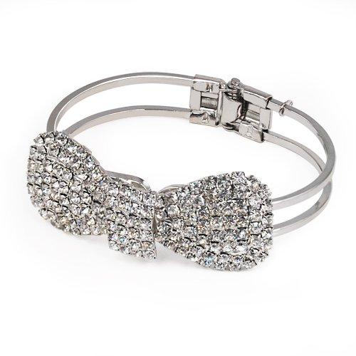 World Pride Silver Tone Plated Fashion Bow Tie Bowknot Crystal Bangle Bracelet