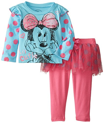 Disney Baby Baby-Girls Infant Disney'S Minnie Girl Polka Dot Skegging Set, Blue, 18 Months front-306636