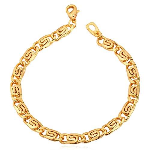 Snail U7 ® Braccialetto placcato oro 18 k, Men's-lunghezza 21 CM, larghezza 6 MM, idea regalo per uomo