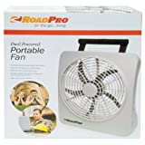 "RoadPro RP73002 10"" 12V or Battery Dual Power Portable Fan"