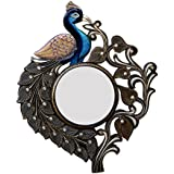 Divraya Wood Peacock Wall Mirror (53.34 Cm X 4 Cm X 63.5 Cm)