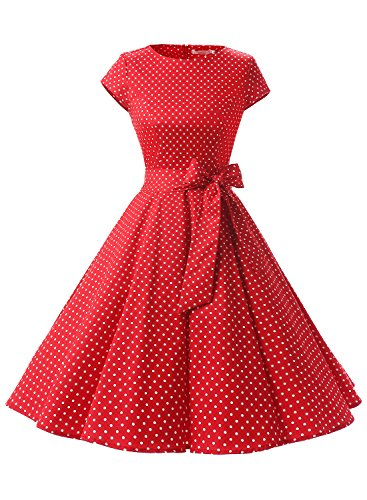 Dressystar Vintage 1950s Polka Dot and Solid Color Party Prom Dresses Rockabilly Cap Sleeves S Red White Dot A