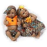 NPKDOLL Indio Style Negro dura de la piel de silicona Simulación de vinilo de 10 pulgadas 26cm impermeable Juguete naranja Niño Niña Renacido baño del bebé de la muñeca con el acrílico Ojos Reborn Doll A1ES