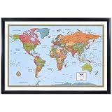 Rand McNally World Wall Map M-Series 32x50 Framed Edition