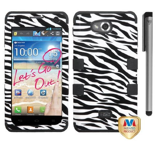 Lg Spirit 4G MS870 Tuff Hybrid Phone Protector Cover Case with ApexGears Stylus Pen (Black White Zebra) -Best Deals And Discounts