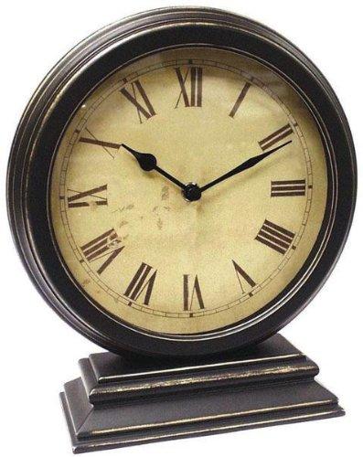 "Timepiece Round Table Clock, 10""Hx9""W, Dstrssd Black"