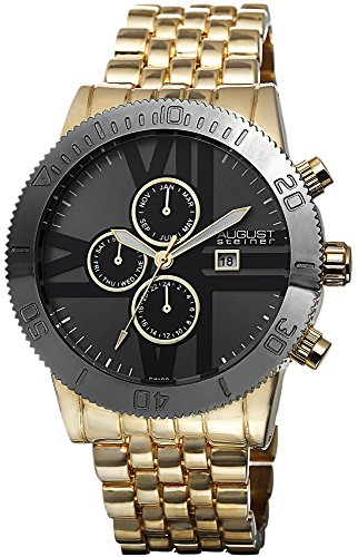 August Steiner Men's Swiss Quartz Multi-function Watch with Black Dial Analogue Display and Gold Alloy Bracelet AS8086YG