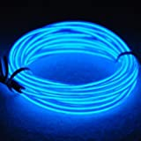 TopYart Neon LED Light Glow EL Wire Battery Pack String Strip Rope Tube Car Dance Party + Controller (9ft , Blue )