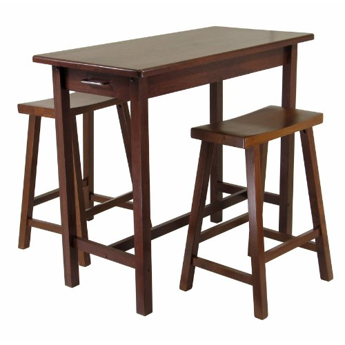 Cheap Winsome Kitchen Island Table with 2 Drawers and Saddle Stools, 3-Piece (B001NHR412)