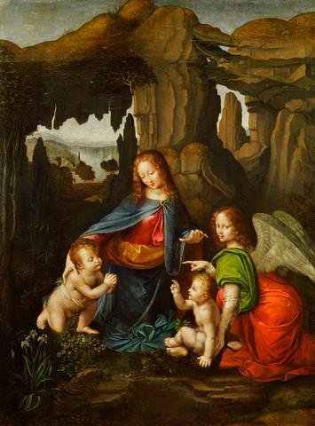 Madonna Of The Rocks After Leonardo Da Vinci Wall Mural - 24 Inches H X 18 Inches W - Peel And Stick Removable Graphic front-768009