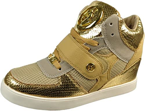 8. Baby Phat Women's Sasha Gold High Top Hidden Wedge Fashion Sneakers 1020274-16Y