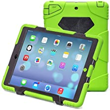 buy Aceguarder New Design Ipad Air 5 Waterproof Shockproof Snowproof Dirtproof Super Protection Cover Case With Stand For Kids Outdoor Sports Travel Adventure Gifts Carabiner+Whistle+Capacitor Pen Handwriting (Aceguarder Brand) (Light Green-Black)