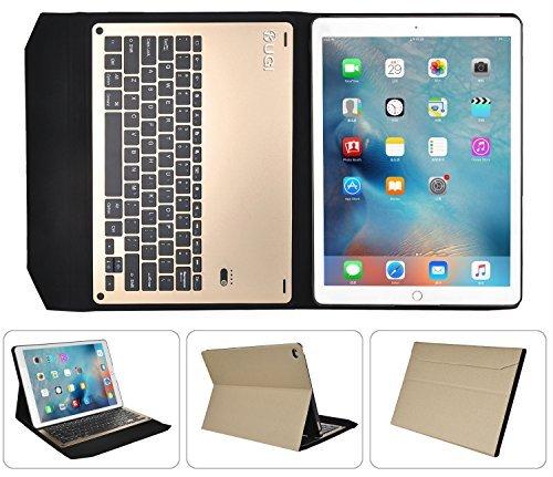 ipad pro Bluetooth キーボード ケースKuGi アルミニウム合金製 一体型 無線キーボード 良質PUレザーケース付き Bluetooth キーボード ケース (iPad Pro アルミ キーボード, ゴールド )