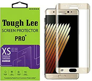 Tough Lee Silicone Coated Full Curve (Perfect Fit) (Golden Colour) Tempered Glass for Samsung Galaxy Note 7 - Golden Colour