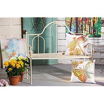 Cape Craftsmen Distressed White Headboard Outdoor Safe Metal Garden Bench