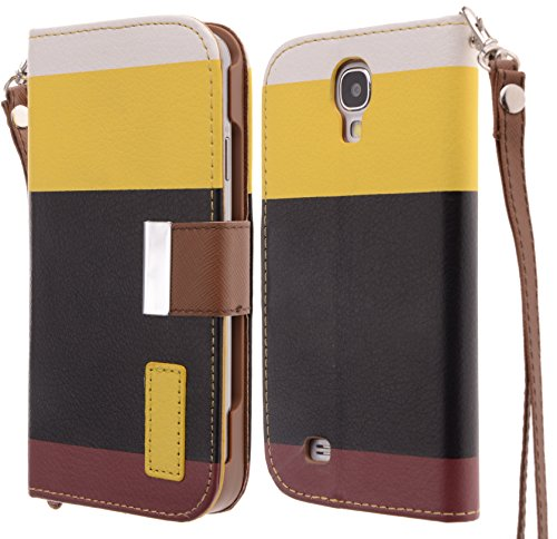 Boilfish,Yellow+Black+Brown,Samsung Galaxy S4/Iv,Stand,Wallet,Strap,Folio Flip Cover Case