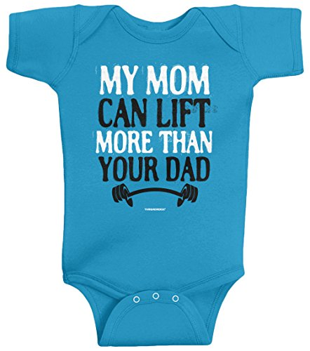 Threadrock Unisex Baby My Mom Can Lift More Than Your Dad Bodysuit 6M Turquoise front-752240