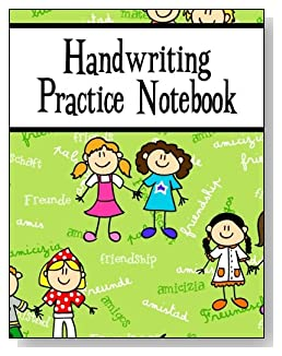 Handwriting Practice Notebook For Girls - Scattered across a green background is the word Friendship written in several languages. Cartoon girls are also featured on the cover of this handwriting practice notebook for younger kids.
