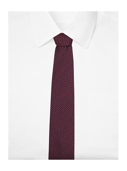 Yves Saint Laurent Men's Grid Tie, Navy/Red