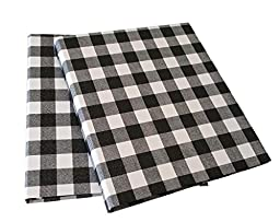 3 Ring Binder- Daily Planner, Organizer - Gingham Fabric Design -Set of 2 (1.5-inch, Black/White)