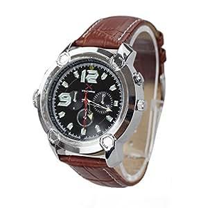 2014新登場 腕時計ビデオカメラ ブラウンシリコンウオッチ 180°画面自動回転撮影 HD720P 1200万画像 暗視機能付き 16GB内蔵 LED照明 単独録音 防水マルチ腕時計