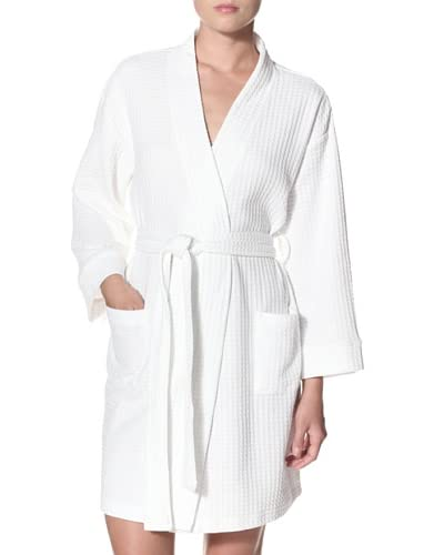Aegean Apparel Women's Solid Houndstooth Kimono Waffle Robe